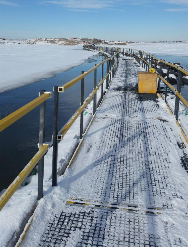 iced floating walkway